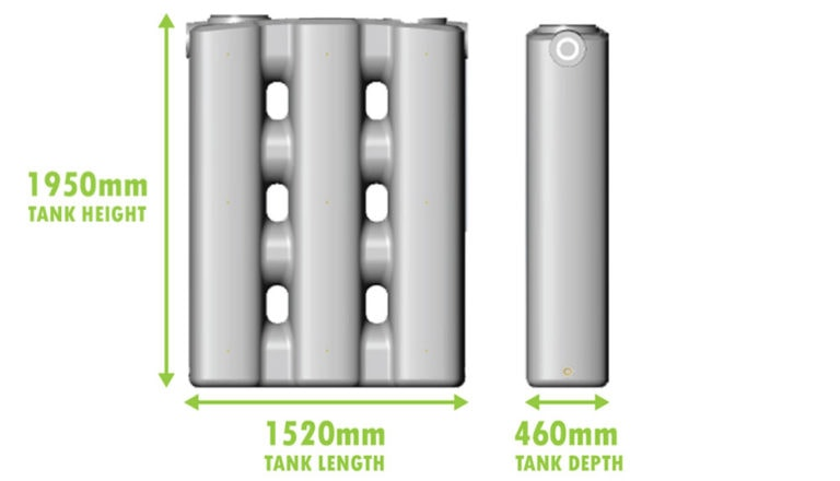 1,000L stormPANEL with dimensions